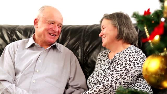 Elderly couple talking near Christmas tree video