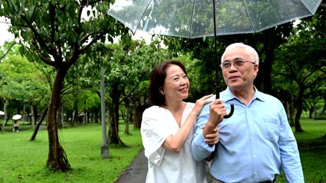장마철 에 공원에서 걷는 노인 부부 - 근거리 초점 스톡 비디오 및 b-롤 화면