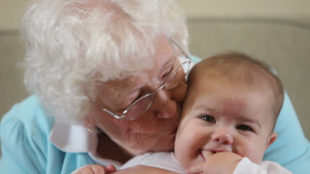 Elderly Great Grandmother with baby video