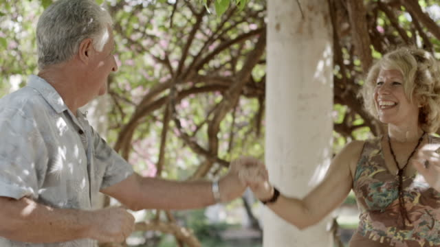 Elderly people in love, dance with husband and wife video