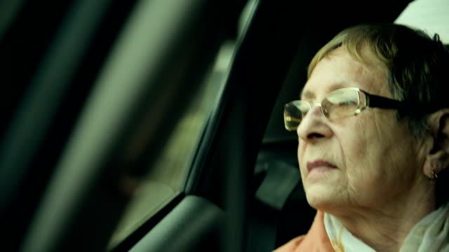 Elderly woman enjoying the view video