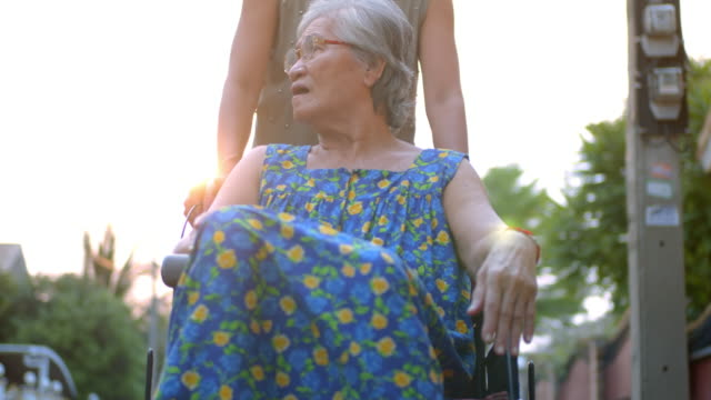 Elderly woman in wheelchair with her caregiver,Slow motion Elderly woman in wheelchair with her caregiver,Slow motion pushing wheelchair stock videos & royalty-free footage