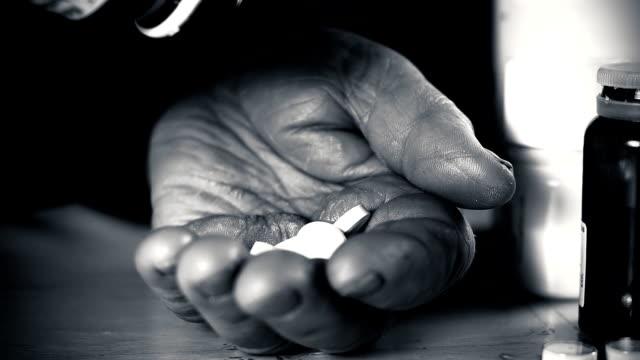 HD SLOW MOTION: Elderly Woman Taking Many Pills video