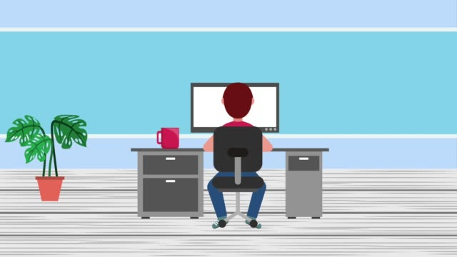 e-learning education related student boy sitting desk pc coffee cup e-learning education office illustrations videos stock videos & royalty-free footage