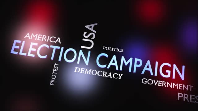 election campaign for political presidential success - video animation - biden стоковые видео и кадры b-roll