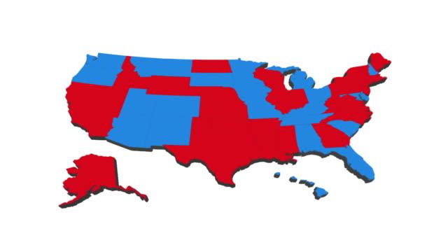 usa election map 2020  - shifting colors and swing states - alaska stato usa video stock e b–roll