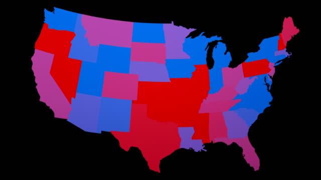 vidéos et rushes de carte électorale des états-unis - boucle bleu/rouge des états - démocratie