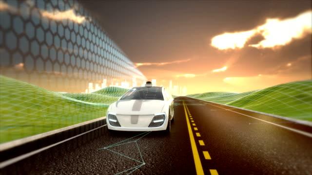 ライダー スキャン信号を道路上で運転自律車両 - センサー点の映像素材/bロール