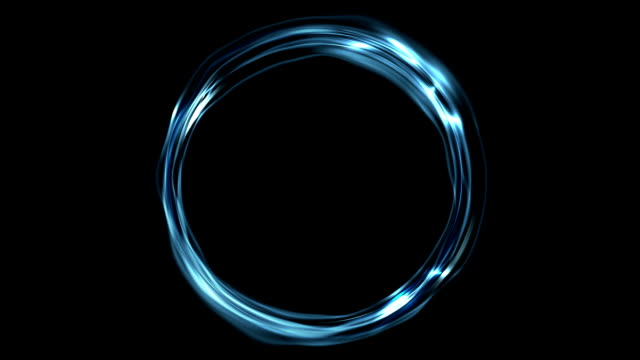 Electric blue neon iridescent flowing ring video animation video