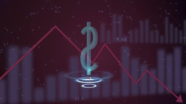 달러 통화 감가상각 을 보여주는 전기 보드 는 아래로 내려가는 레드 라인을 wirg. - 낮음 스톡 비디오 및 b-롤 화면