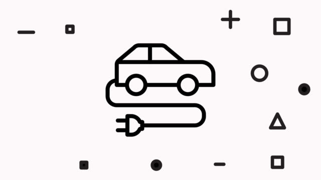Electric car line icon animation