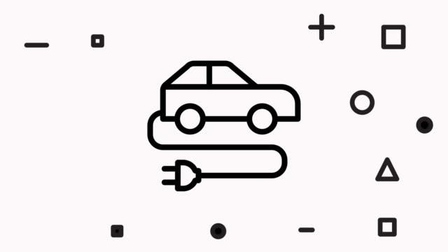 vídeos de stock, filmes e b-roll de animação do ícone da linha de carros elétricos - clip art