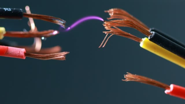Electric cord with electricity spark