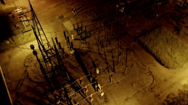 Electric Distribution Station Night Aerial View - video