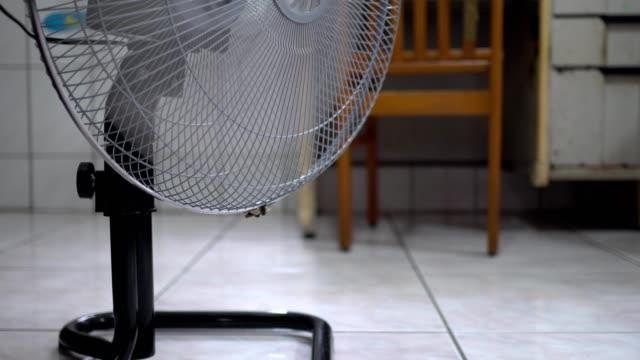 vídeos y material grabado en eventos de stock de ventilador eléctrico en casa. hecho de metal. el ventilador se está balanceando. - aleación