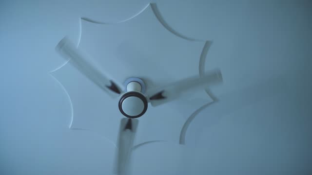 Electric fan in the room at night