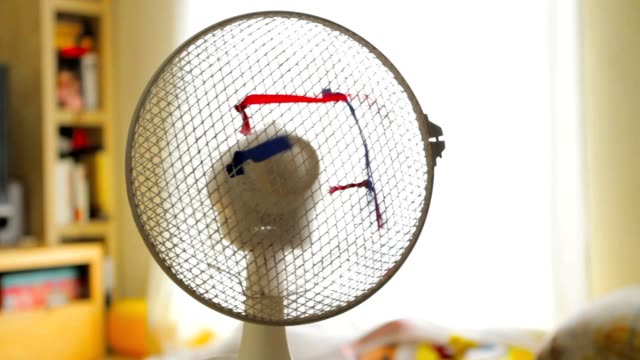 Electric fan with red and blue ribbons video