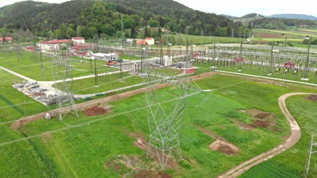 Electric power lines at electrical substation