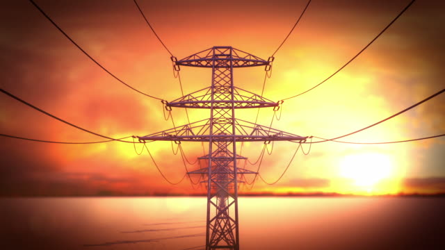 Electric power pylons and lines loopable video