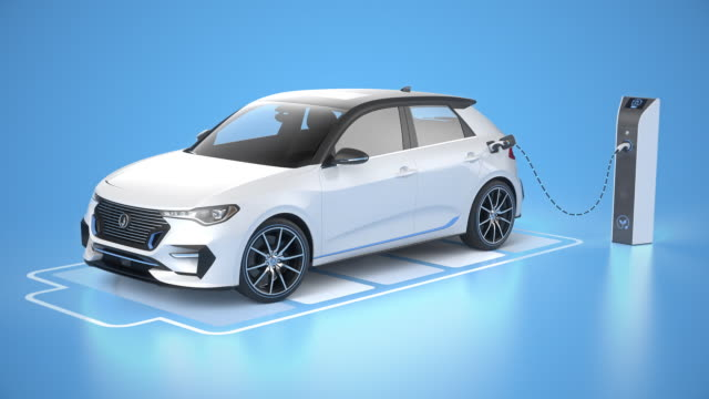 青い背景に充電ステーションで充電する電気自動運転車 - オルタナティブカルチャー点の映像素材/bロール