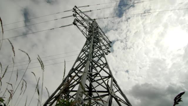 stockvideo's en b-roll-footage met elektrische ondersteuning van hoogspanning stroomkabels enzovoort. energie-industrie - duurzaam toerisme