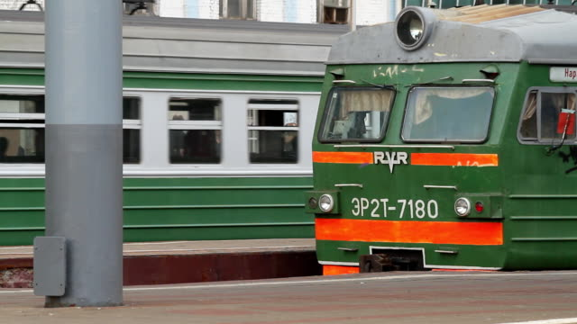 Electric train standing on the platform / Russia. Moscow video