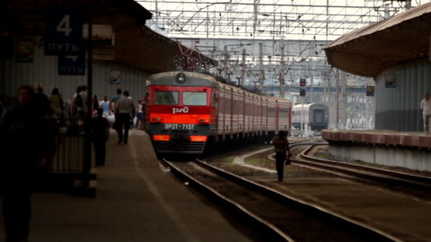 Electric train waiting the passengers on the platform / Russia. Moscow video