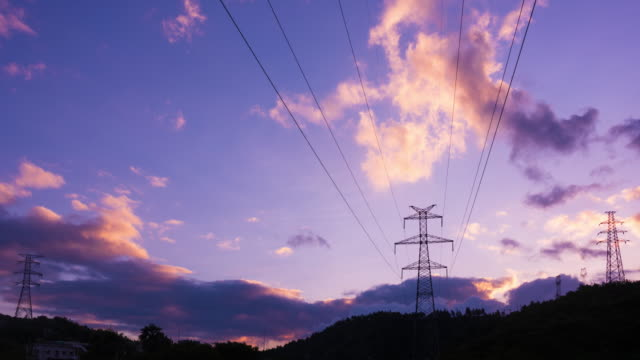 Electrical Pylons and morning glow 4K UHD