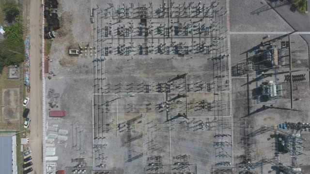 Electrical Substation, Aerial View, Directly Above Shot