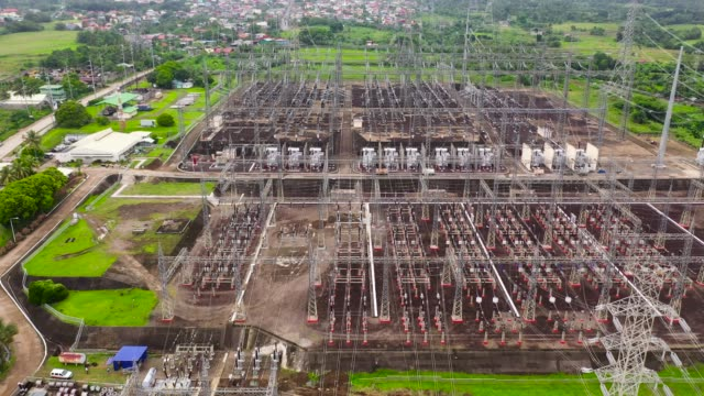 electrical substation,power station. aerial view - sottostazione elettrica video stock e b–roll
