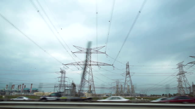 POV Electrical wiring above the highway video