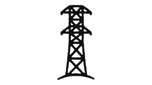Electricity Generation Icon Animation Footage & Alpha Channel