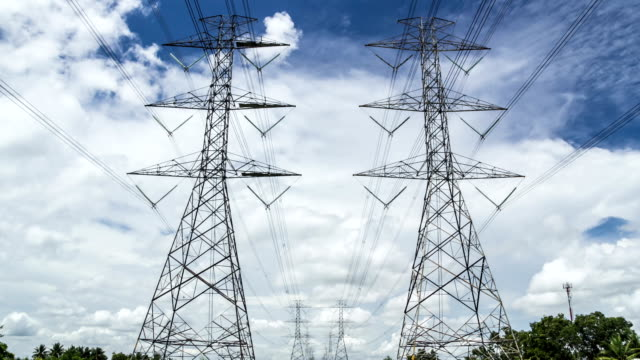 electricity high voltage power pylon against blue sky electricity high voltage power pylon against blue sky, time lapse power supply stock videos & royalty-free footage