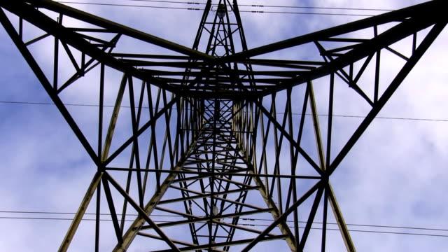 Electricity pylon top zoom in video