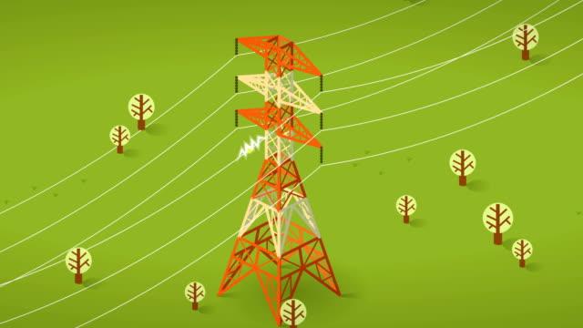 electricity pylon - filo metallico video stock e b–roll