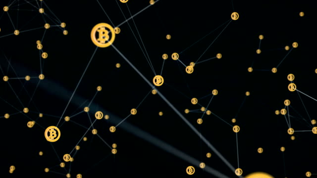 Electronic currency bitcoin, abstract virtual communications of computers by means of blockchain on the Internet