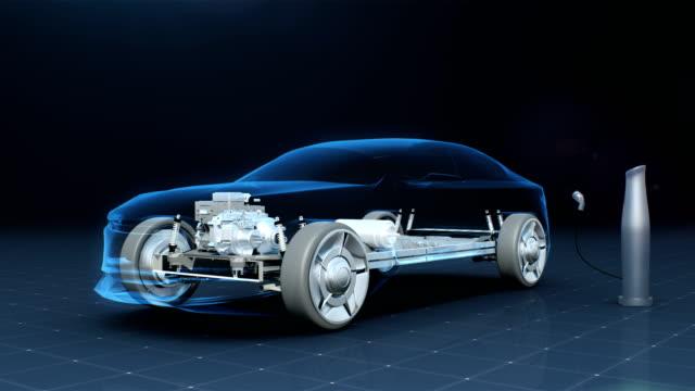 elektronik, wasserstoff, lithium-ionen-batterie echo auto. autobatterie aufladen. röntgen-seitenansicht. öko-auto der zukunft. 4 k animationsfilm. - wasserstoff stock-videos und b-roll-filmmaterial