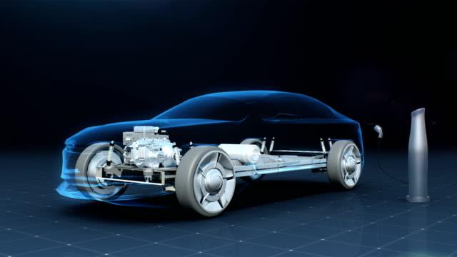elektronische, lithium-ionen-batterie auto. laden autobatterie. umweltfreundlichen zukunftsauto. röntgenbild. - wasserstoff stock-videos und b-roll-filmmaterial