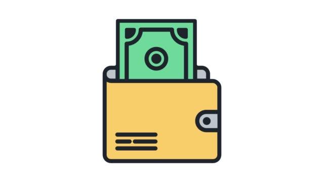 電子交易錢包線圖示動畫與阿爾法 - 銀包 個影片檔及 b 捲影像