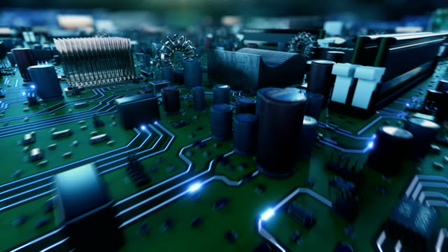 elektronen bewegen schnell auf platine von cpu. fliegen im inneren der cpu in den cyberspace. abstrakten 3d-animation von prozessor-struktur und karte teilen. digital-konzept. - platine stock-videos und b-roll-filmmaterial