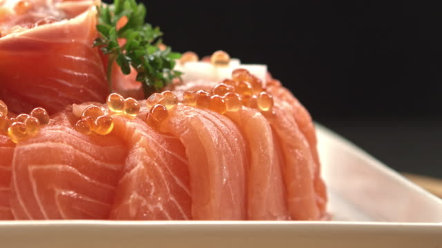 Elegance Japanese Food Raw and fresh salmon meat fillet stock videos & royalty-free footage