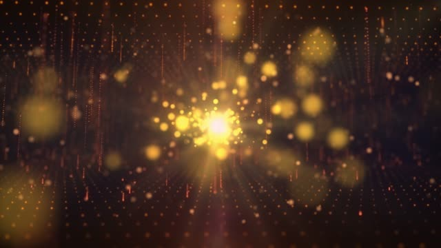Elegant 4K Lights gold blurred bokeh background. Elegant gold abstract. Fairy magical worship ackground with circles and stars. Christmas Animated background. loop able abstract background circles.