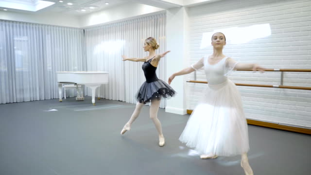 Elegant ballerinas dance in ballet studio video