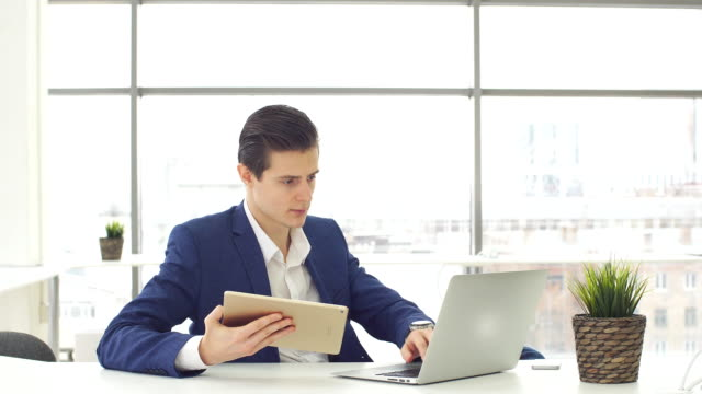 Elegant Businessmen work in office video