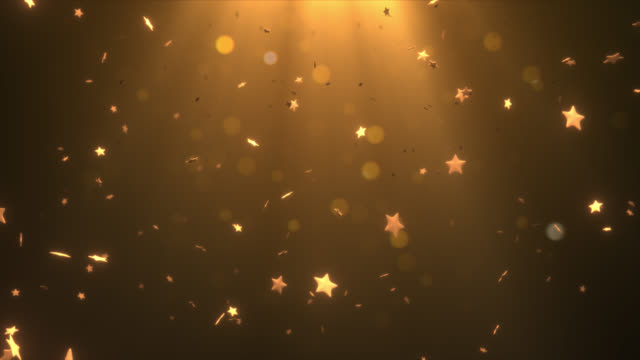 Elegant gold falling star and glitter