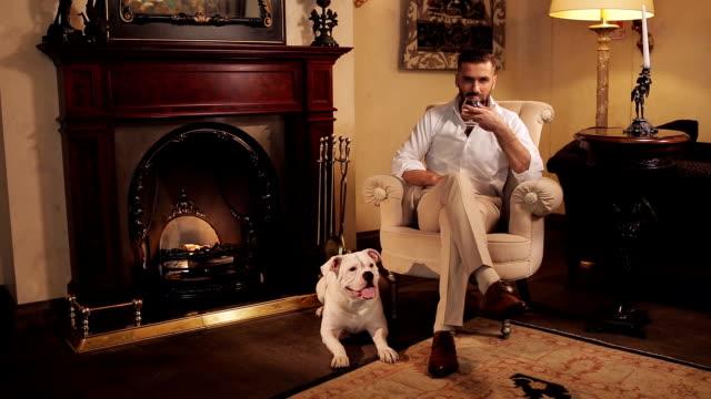우아하다 남자 만화 글래스와 의자에 앉아 파이어플레이스. - rich 스톡 비디오 및 b-롤 화면