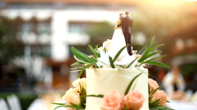 elegant wedding cake with bride and groom figurines decorated with fresh flowers. - matrimonio video stock e b–roll