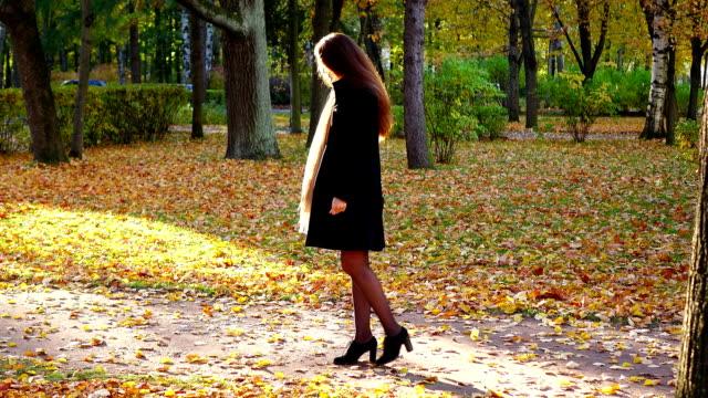 Femme élégante attendre quelqu'un au parc de l'automne, feuilles d'automne lumineux - Vidéo