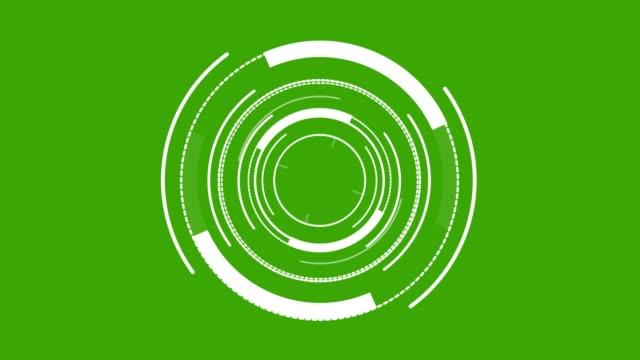 hud-element digital-rundweiß auf grünem bildschirm - computergrafiken stock-videos und b-roll-filmmaterial