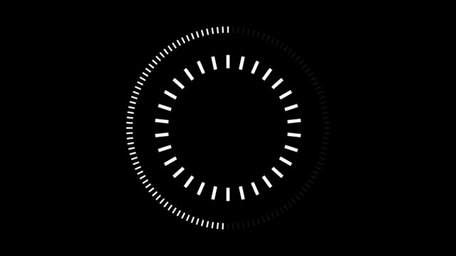 hud element digital - pending loading screen - loop with loopable segments - circular white on black - semplicità video stock e b–roll